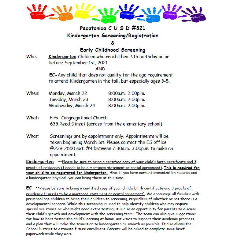 Kindergarten Screening/Registration & Early Childhood Screening
